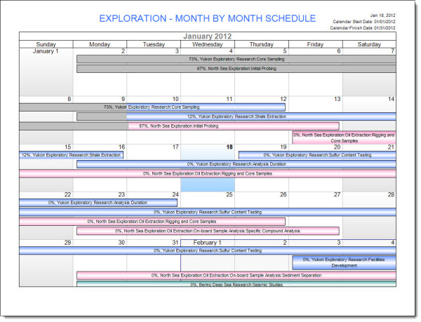 FastTrack Schedule Calendar View in Print Preview
