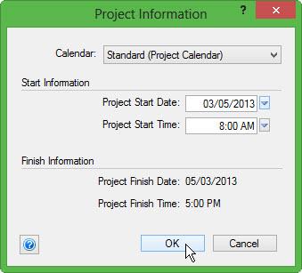 Change Project Start Date