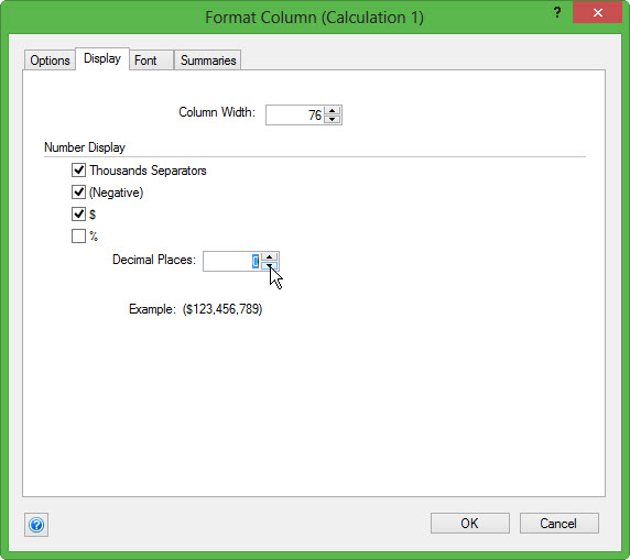Format Variance Column