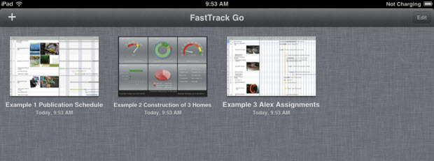 FastTrack Schedule Go - Example Files in Project Gallery