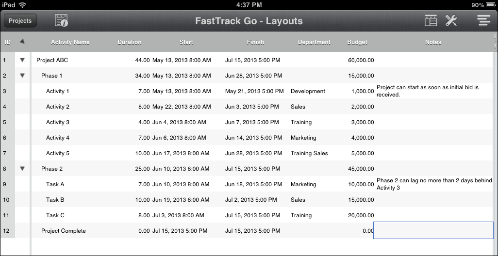 FastTrack Go Desktop Layout
