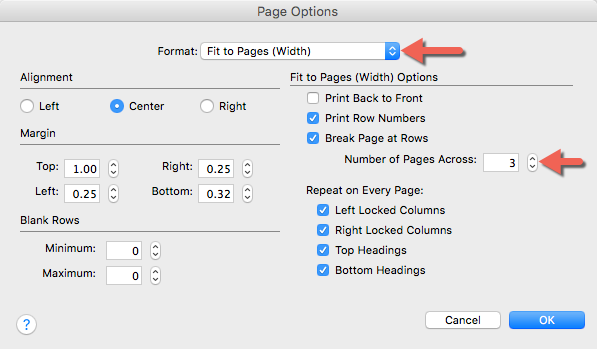 FastTrack Schedule's Page Options. Fit to Pages is selected for printing.