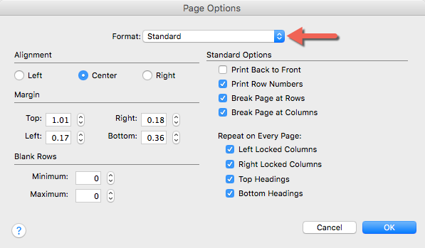 Page Options. Standard Printing is selected