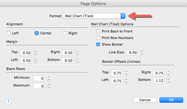 Page Options. Wall Chart (Tiled) is selected.