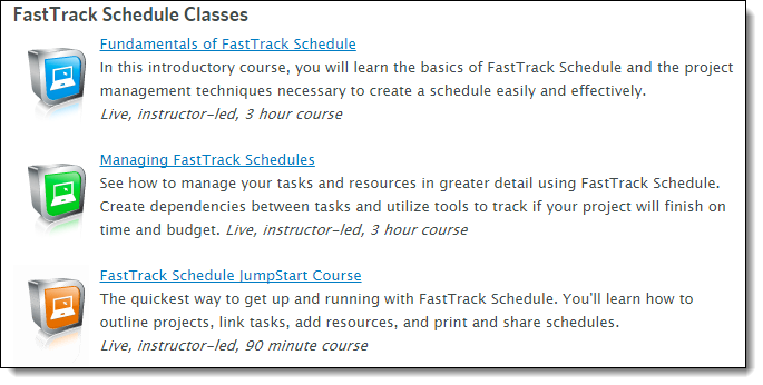 FastTrack Schedule 10 Training Options