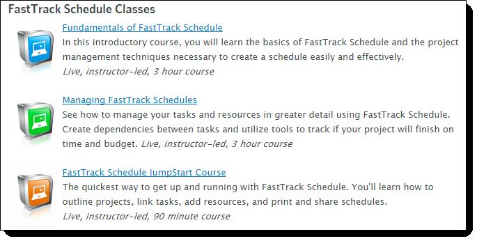 FastTrack Schedule 10 Training Options