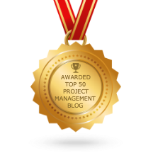 "A gold medal with ""Awarded Top 50 Project Management Blog"" on it"