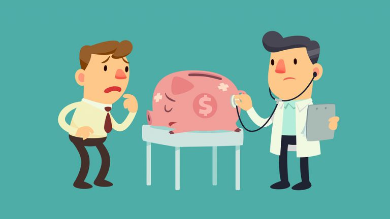 A businessman takes his sick piggy bank to the doctor
