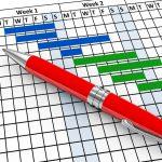 3d render of pen and project gantt progress chart sheet