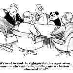 Business cartoon about negotiation.  The company needs someone adorable, cuddly and cute for the negotiation: the panda.