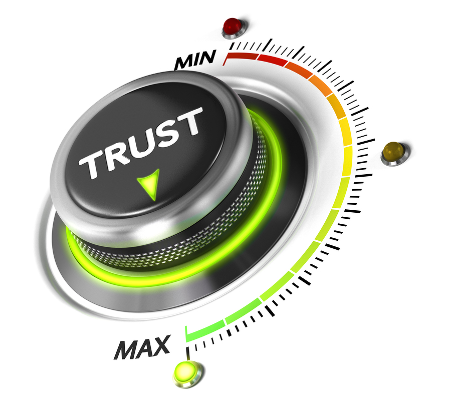 Trust button set on highest position. Concept image for illustration of high confidence level trusted service or review.