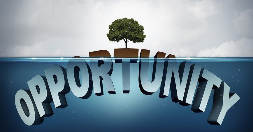 Unknown opportunity concept as three dimensional text hidden underwater with a viral healthy tree growing on a small piece above water as a metaphor for success and motivation to search for hidden opportunities in business and life.