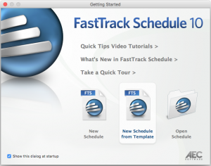 """Getting Started Dialogue Box with """"New Schedule from Template"""" selected."""