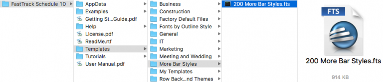 """The navigation path for the """"200 More Bar Styles"""" file"""
