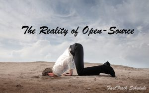 The Reality of Open-Source technology. Image created by FastTrack Schedule.